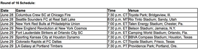 US Open Cup Round of 16 schedule