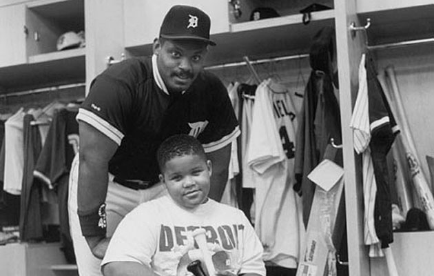 Cecil (left) and Prince Fielder at the 1993 MLB All-Star Game in Baltimore.