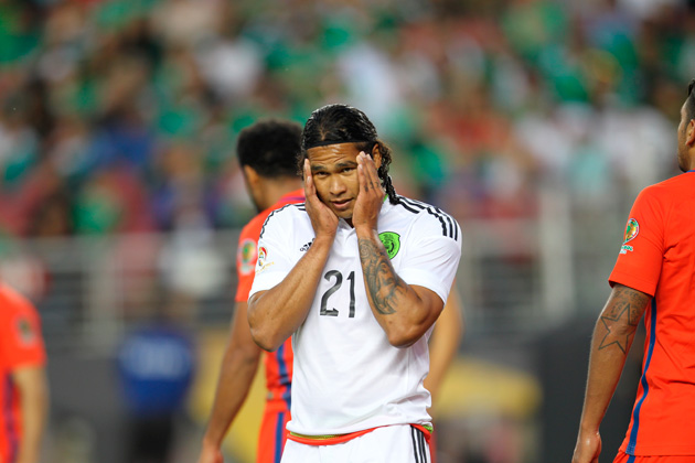 Mexico's Carlos Pena can't believe the 7-0 loss to Chile