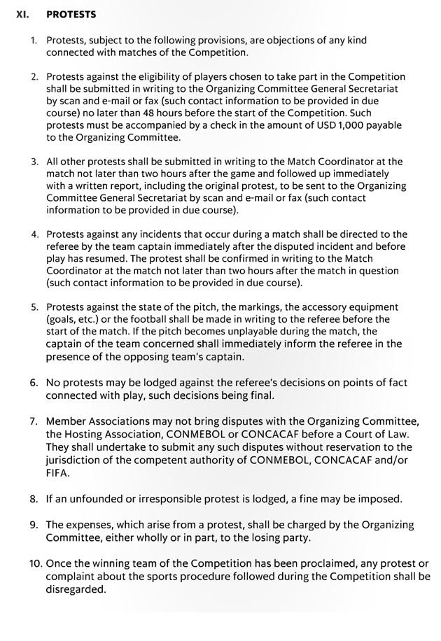 Copa America rules, regulations