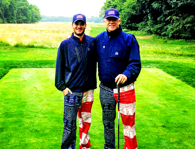 Gunnar and Boomer Esiason golfing on a recent Father's Day.