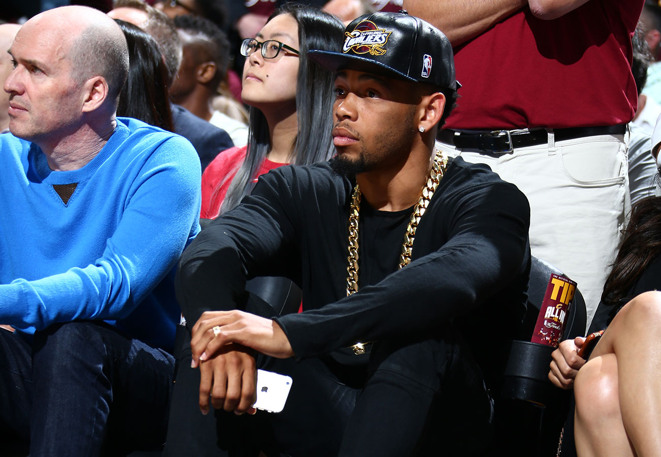 Cleveland Browns cornerback Joe Haden watches Game 6 of the 2016 NBA Finals.