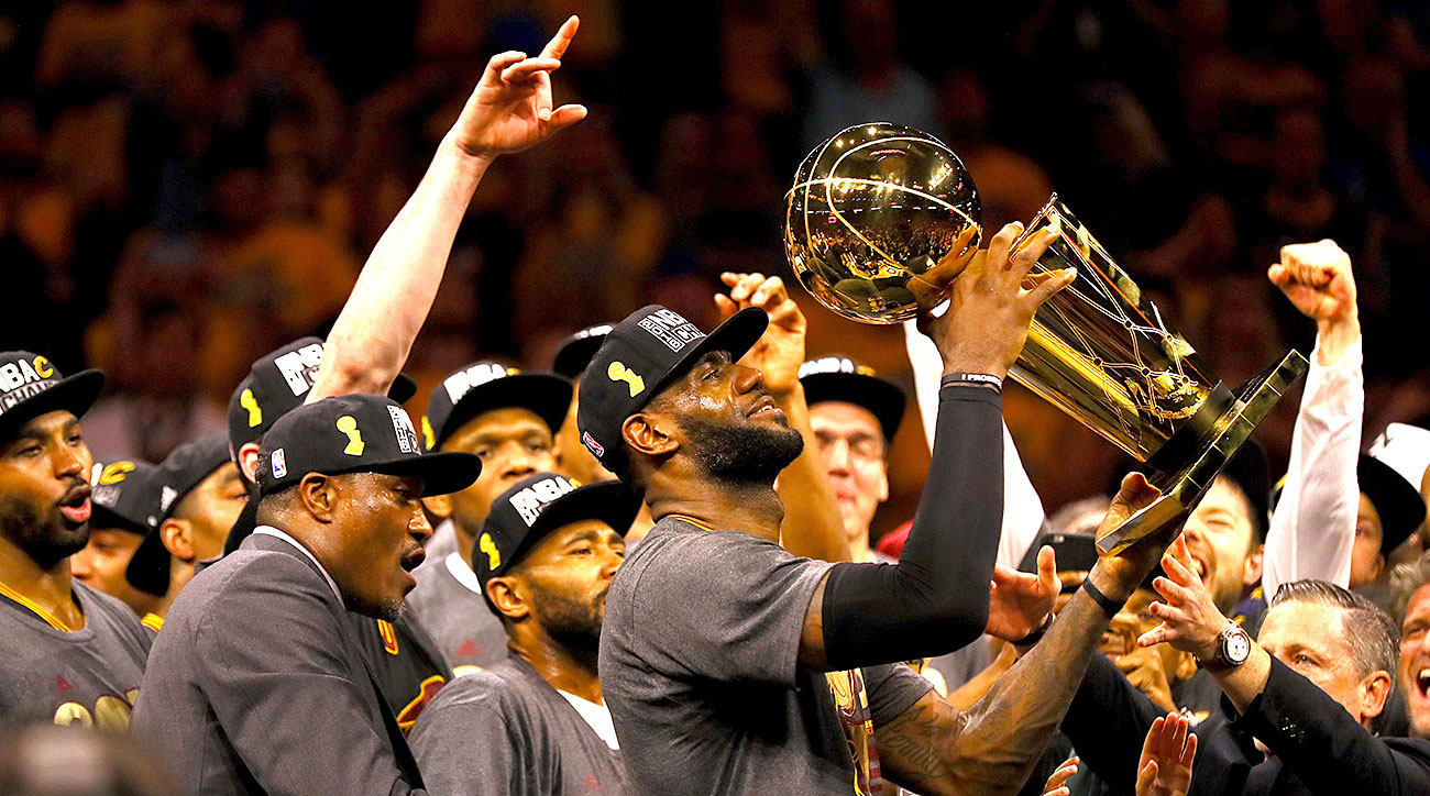 LeBron James lifts the 2016 NBA championship trophy for all of Cleveland.