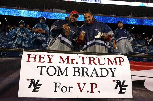Fans suggest a running mate for Trump last Sept. 10 at the Patriots' home game against the Steelers.