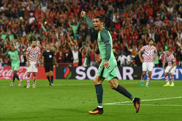 Cristiano Ronaldo celebrates Portugal's game-winning goal against Croatia at Euro 2016