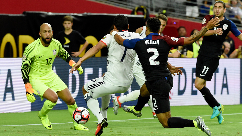 Carlos Bacca scores for Colombia against the USA in Copa America's third-place game