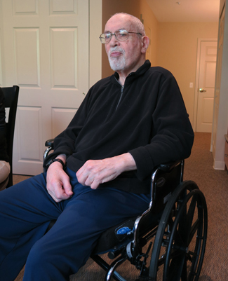 Paul Zimmerman at his assisted living facility.