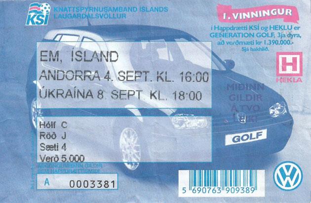 Iceland ticket to 1999 Euro qualifier