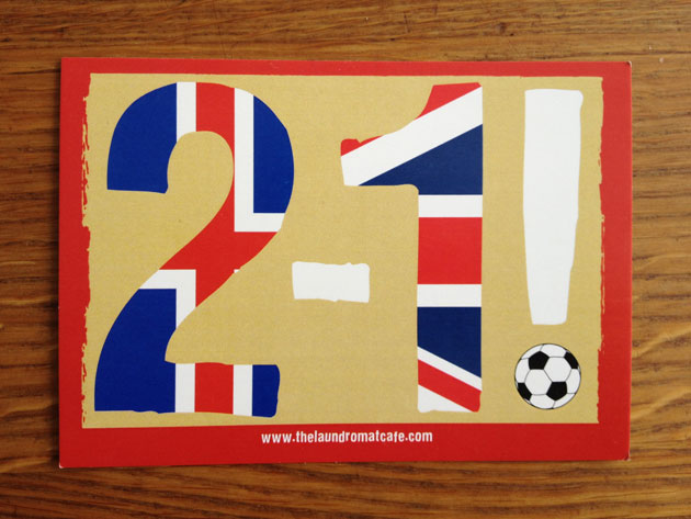 A postcard in Iceland to commemorate the famous win over England in the Euro 2016 quarterfinals