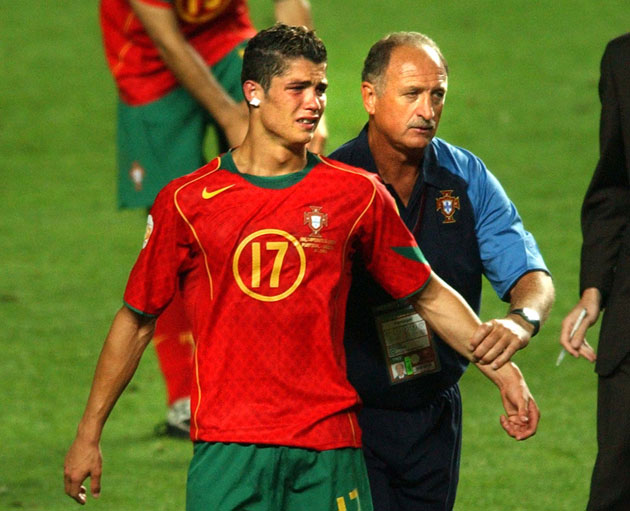 Cristiano Ronaldo cries after Portugal's loss to Greece in the Euro 2004 final
