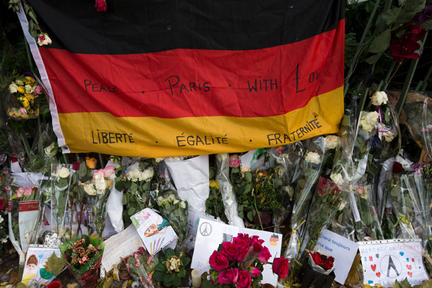 Germany flag with words of support for France