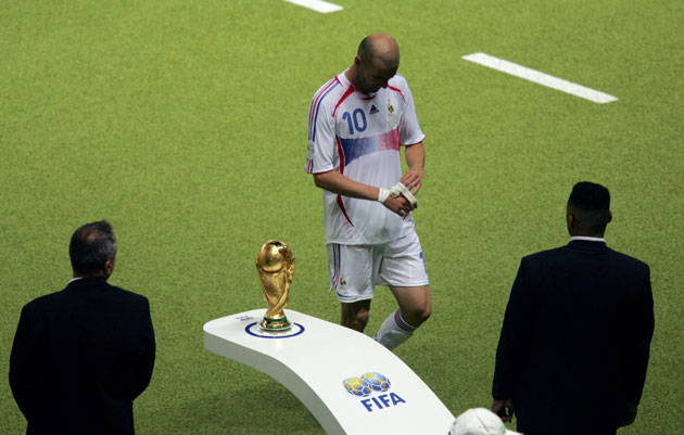 Zinedine Zidane walks off the field at the 2006 World Cup final after being sent off