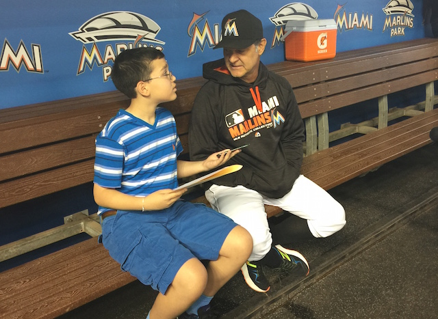 Kid reporter Dylan Goldman interviews Marlins manager Don Mattingly.