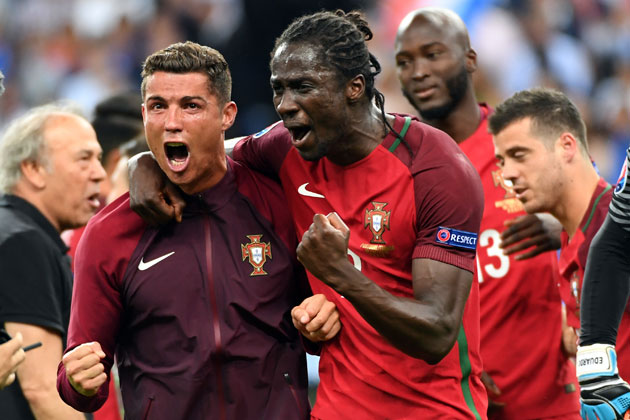 Cristiano Ronaldo and Eder celebrate after Portugal wins Euro 2016