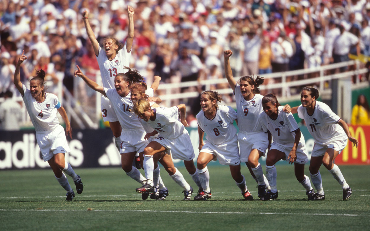 USWNT players celebrate winning the 1999 Women's World Cup