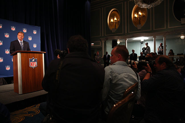 Many of Goodell's lowest moments have come when dealing with the media, like this 2014 press conference in the wake of the Ray Rice scandal.