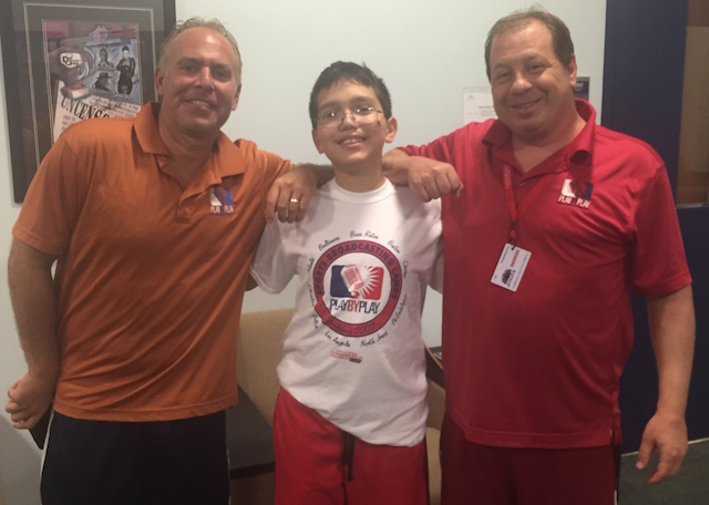 Kid Reporter Dylan Goldman (middle) poses with camp owners Steve Goldstein (left) and Jeremy Treatman (right)