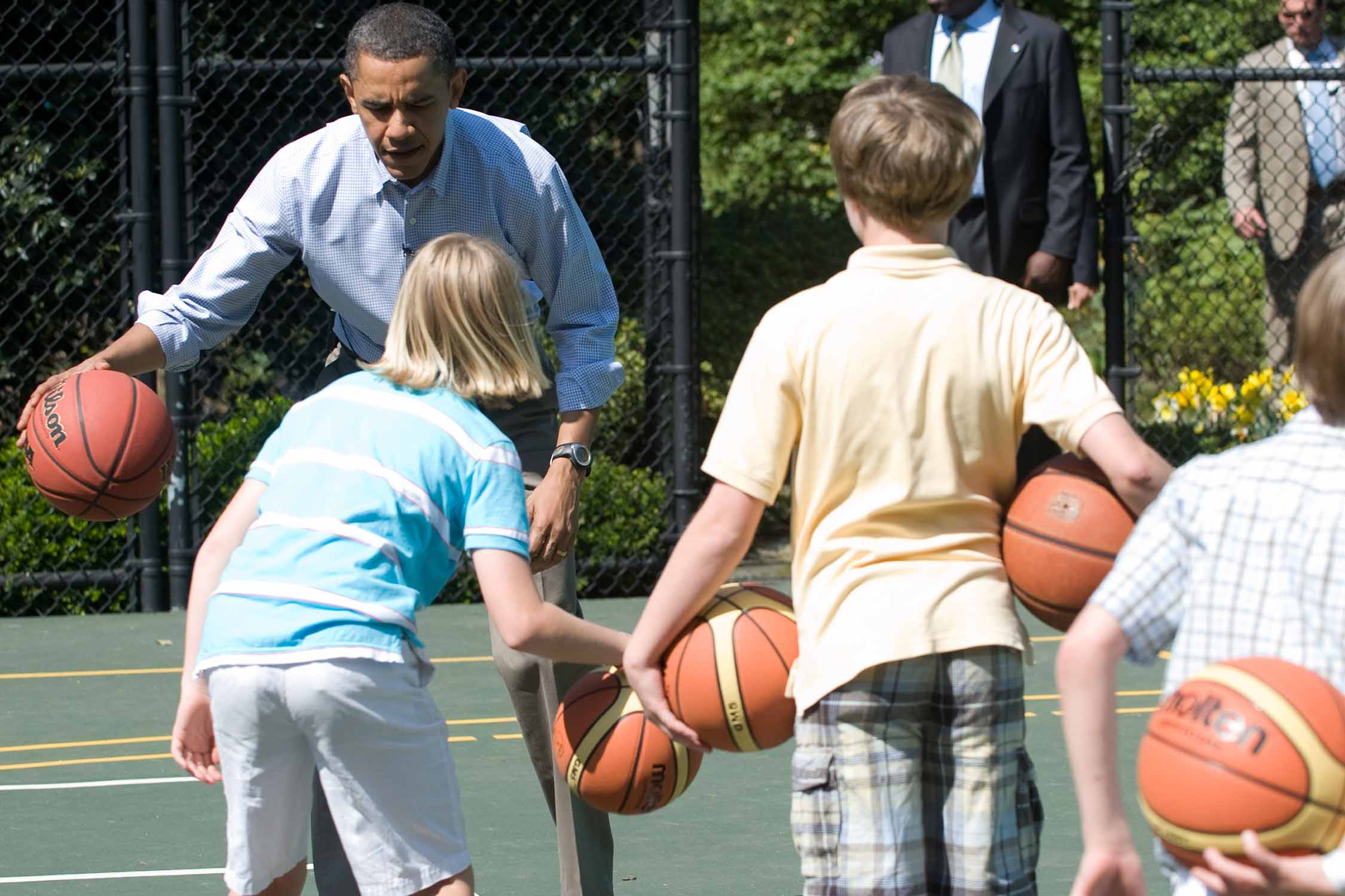President Barack Obama shows off his dribbling skills during the White House's annual Easter Egg Roll in 2010.