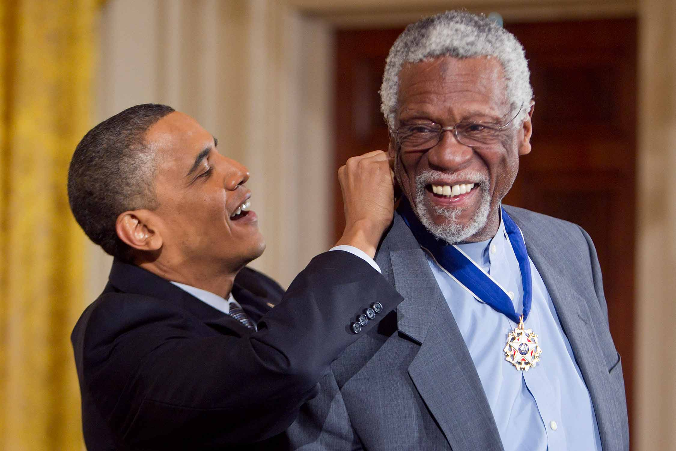 President Barack Obama presents NBA legend Bill Russell with the Medal of Freedom in 2011.