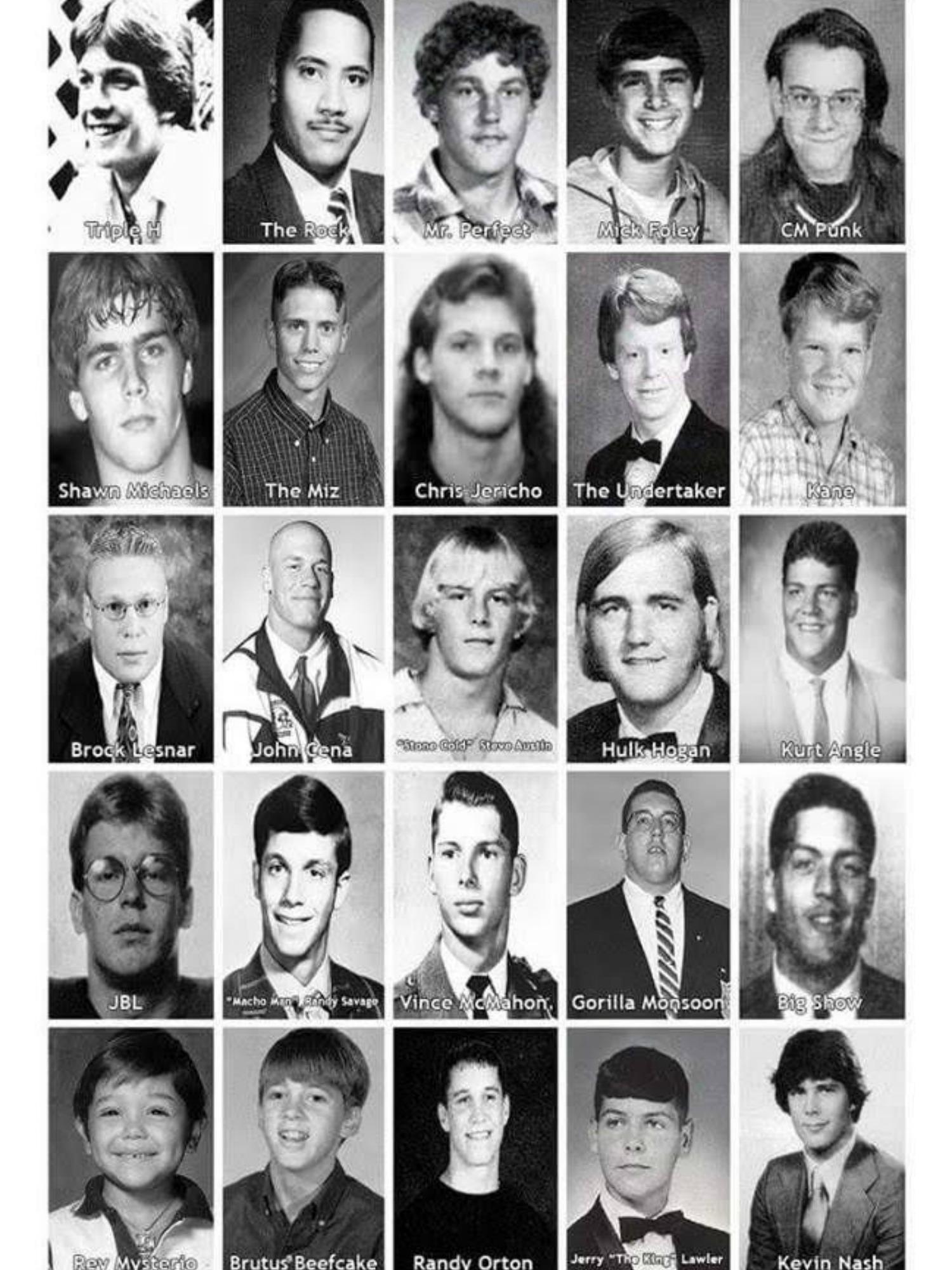 WWE wrestlers high school yearbook photos