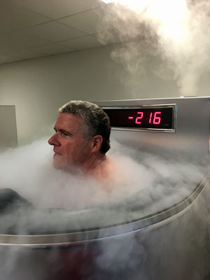 Peter King steps into the cryotank.
