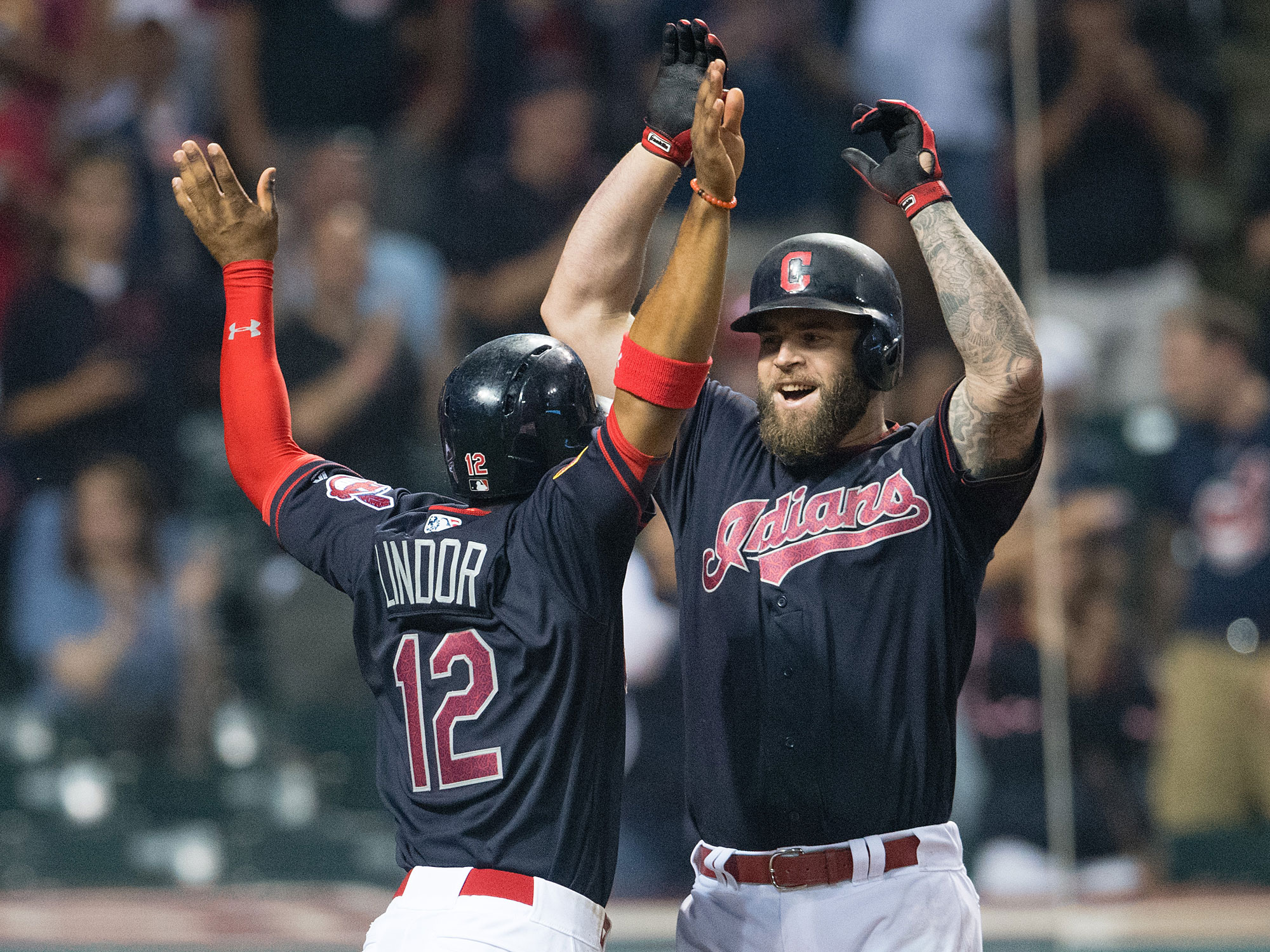 Mike Napoli and Francisco Lindor, Cleveland Indians