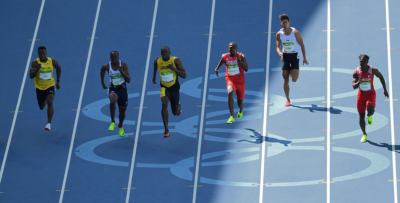 Former NFL RB Jahvid Best (far left), competing for St. Lucia, finished seventh in a 100-meter heat won by Usain Bolt (third from left).