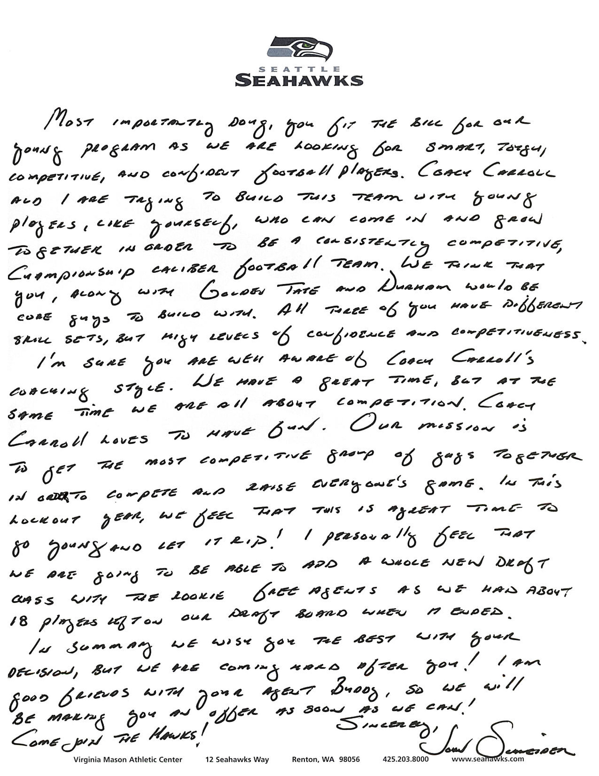 doug baldwin s letter from seahawks gm john schneider si com after baldwin went undrafted in 2011 seahawks general manager john schneider sent baldwin the following handwritten note outlining seattle s philosophy
