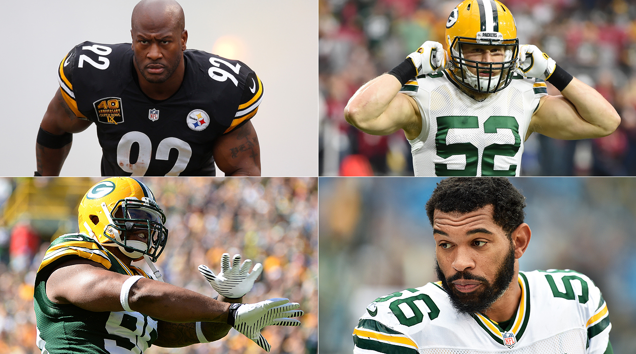 Clockwise, from top left: James Harrison, Clay Matthews, Julius Peppers and Mike Neal.