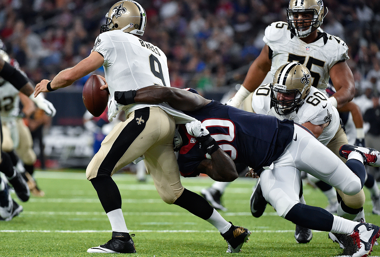 Jadeveon Clowney was active Saturday night against Drew Brees and the Saints, a welcome sight for Texans fans.