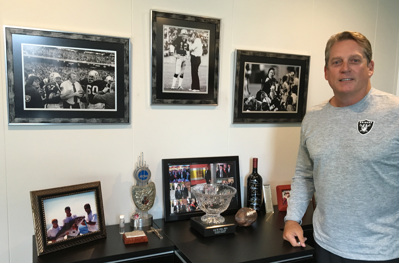 Del Rio's office is adorned with photos and memorabilia of the team he followed as a kid and now coaches.