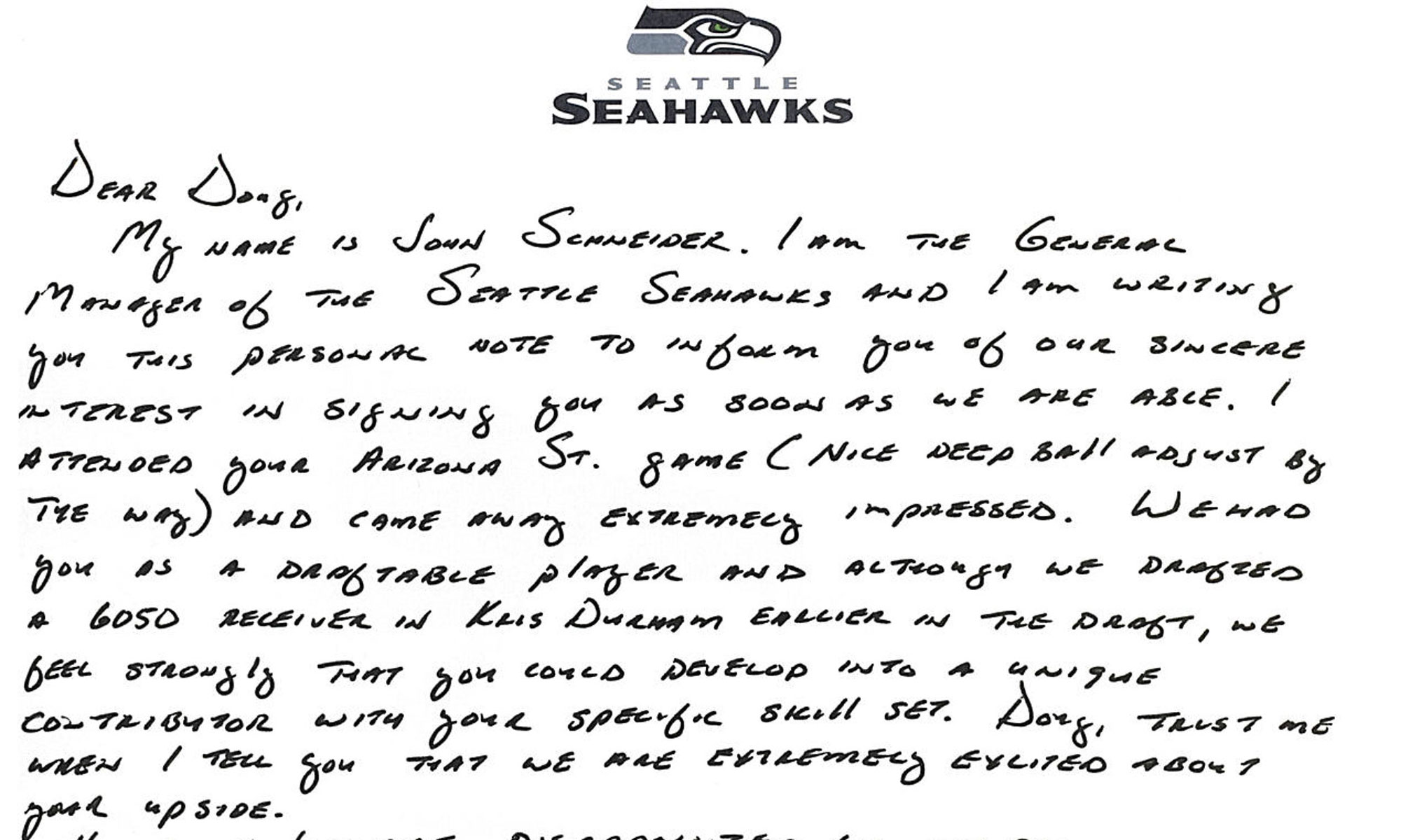 Schneider wrote Baldwin a two-page letter expressing the Seahawks' interest after Baldwin went undrafted in 2011.