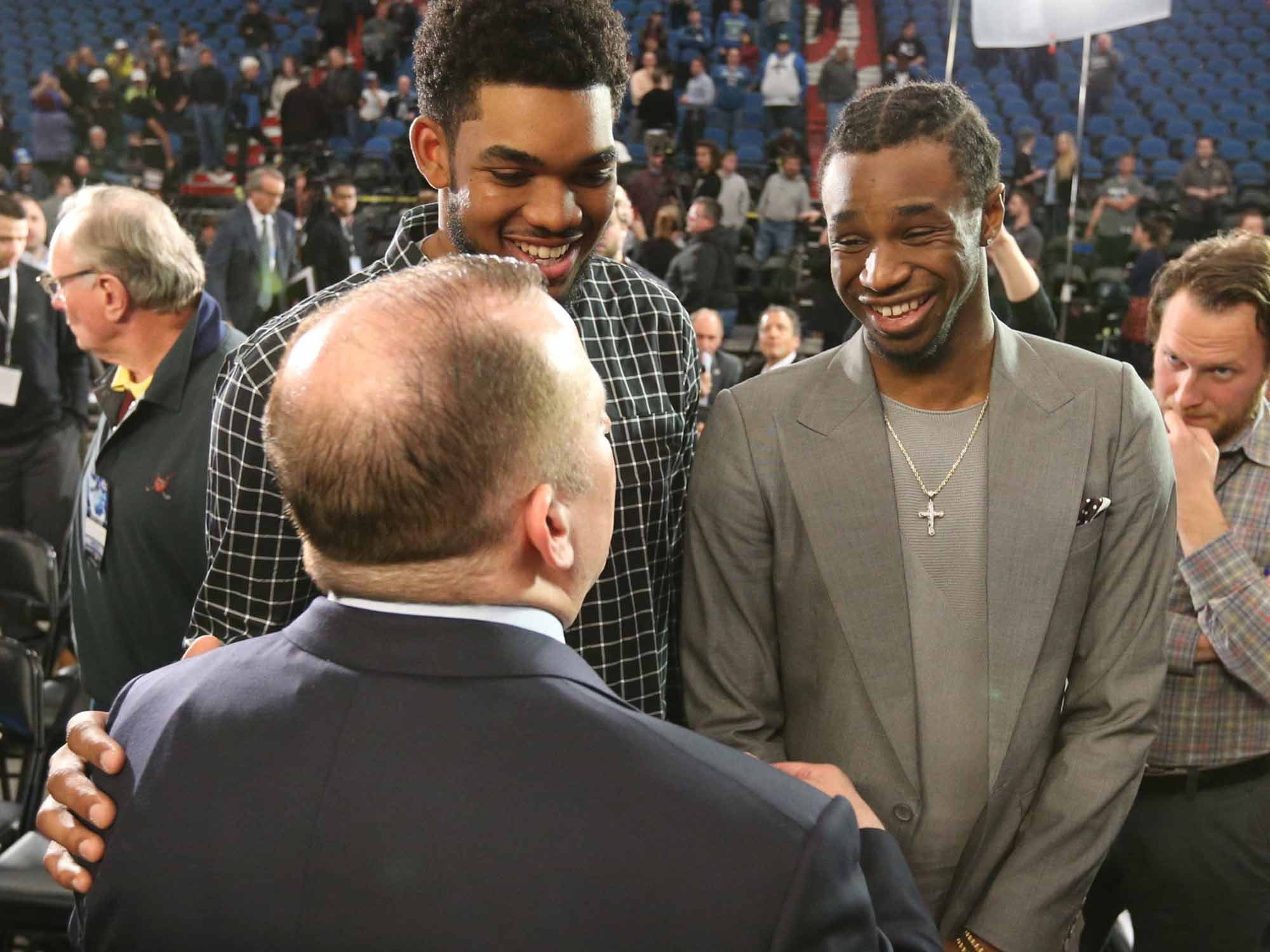 Karl-Anthony Towns, Andrew Wiggins and Tom Thibodeau