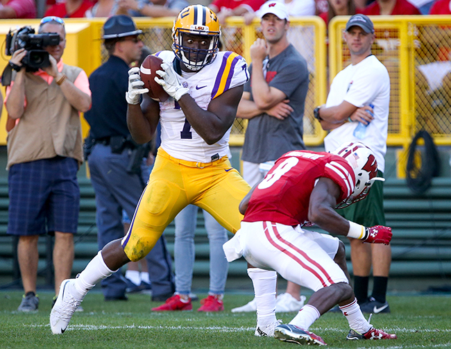 It wasn't the cleanest catch downfield, but Fournette ran a good route and held on through a low hit on LSU's longest play of the game.