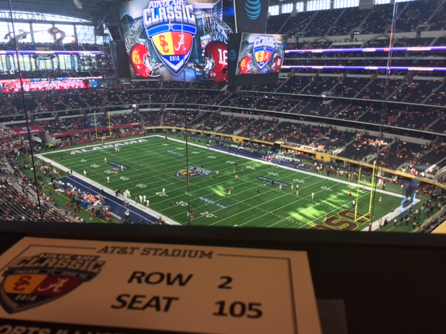 USC-Alabama from the press box at AT&T Stadium.