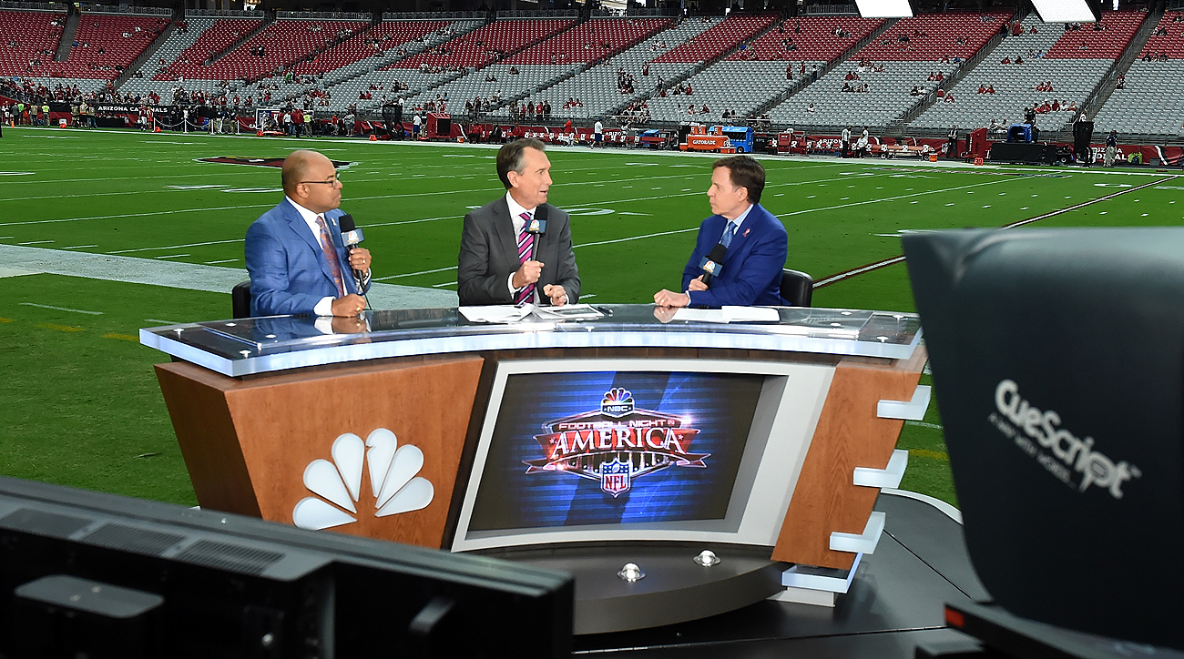 Long-time ESPN broadcaster Mike Tirico is now on NBC and will appear on Football Night in America with Cris Collinsworth, Bob Costas and others.