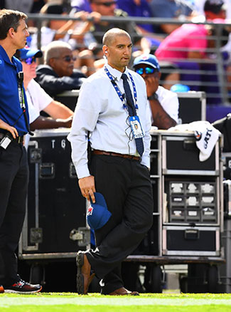 Neurologist David Ibrahimi on the sideline of the Ravens-Bills game in Baltimore.