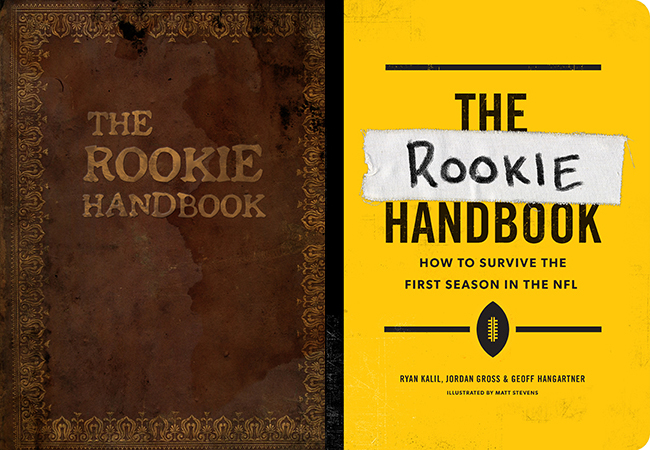 The original cover of the Rookie Handbook, unearthed from the depths of the Ryan Kalil archive, and the published book's cover.