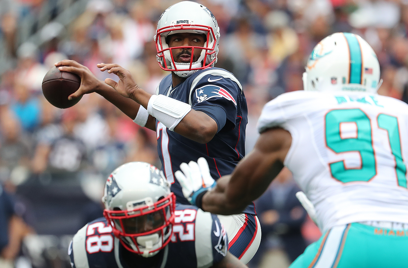 Third-string quarterback Jacoby Brissett was forced into action Sunday and the rookie responded with 6-of-9 throwing for 92 yards and no turnovers.