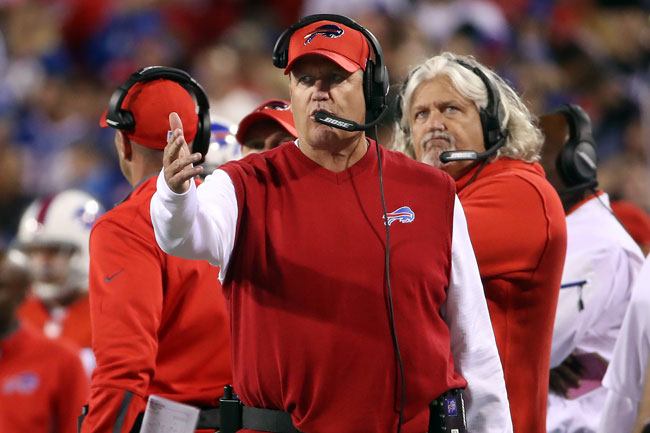 Rex Ryan and his brother Rob on the Bills' sideline.
