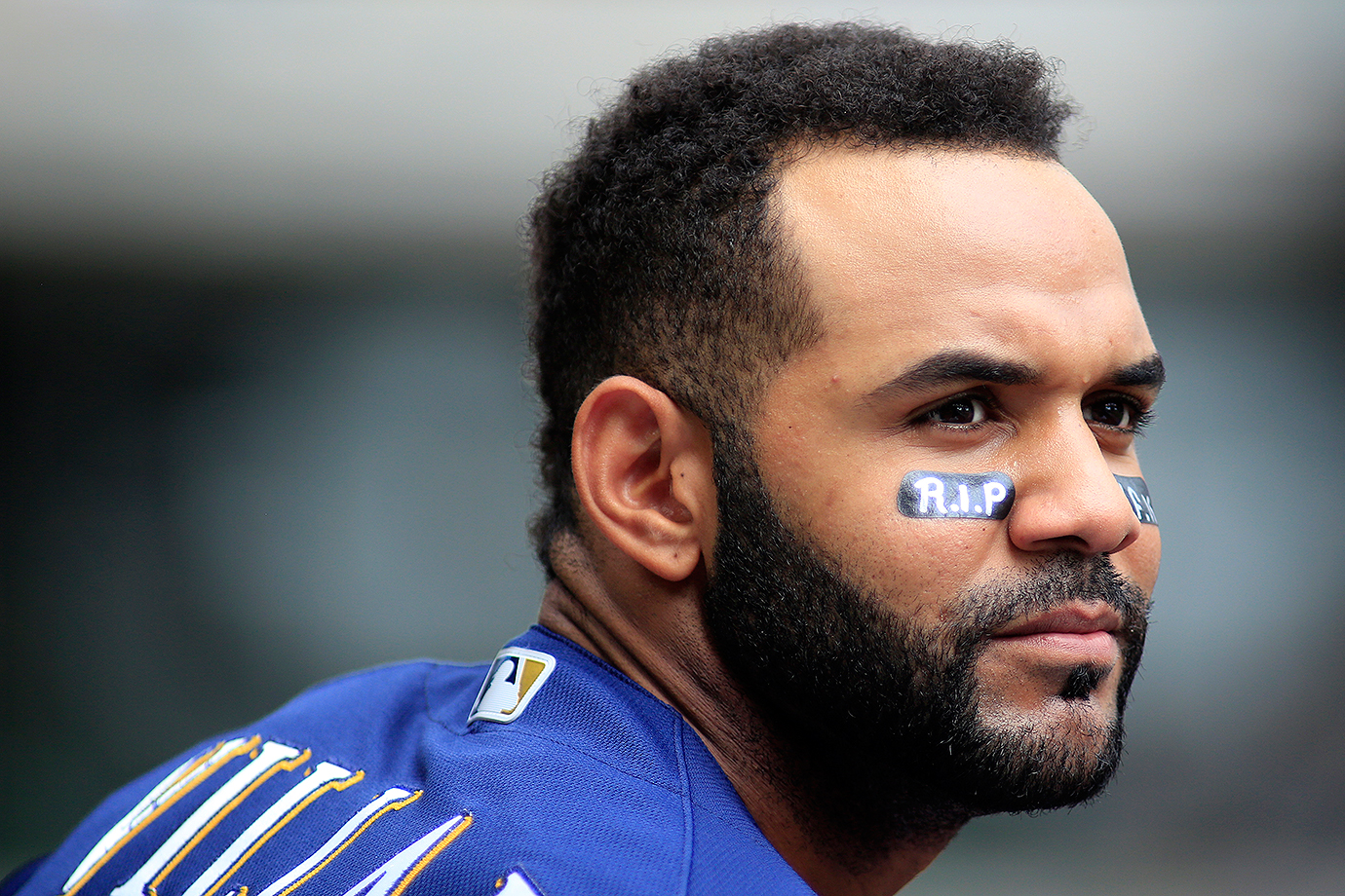 Milwaukee Brewers shortstop Jonathan Villar wears RIP under his eye in memory of Jose Fernandez during a game against the Cincinnati Reds on Sunday, Sept. 25, 2016 at Great American Ball Park in Cincinnati.