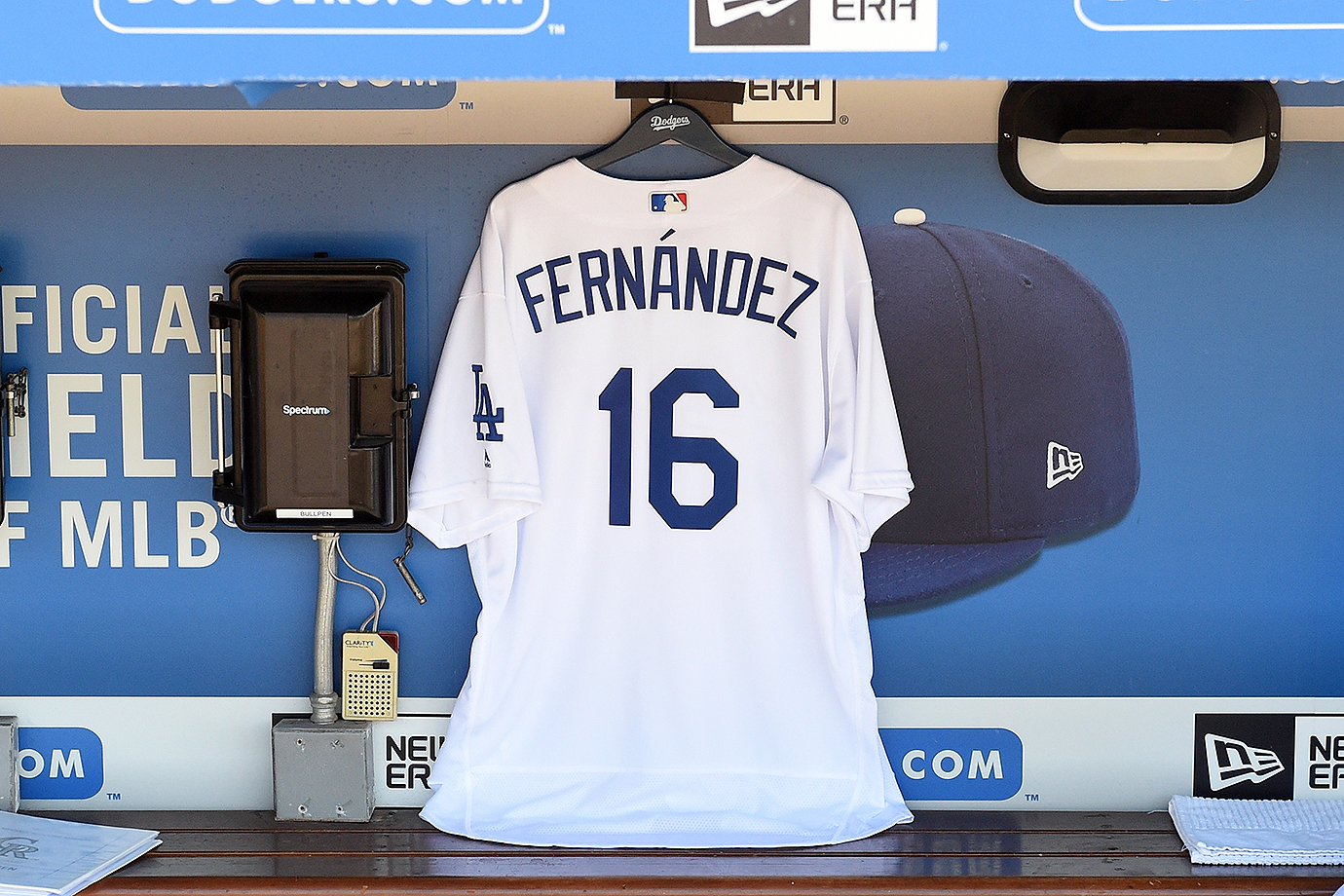 A Jose Fernandez Dodgers jersey hangs in the Los Angeles dugout during a game against the Colorado Rockies on Sunday, Sept. 25, 2016 at Dodger Stadium in Los Angeles.