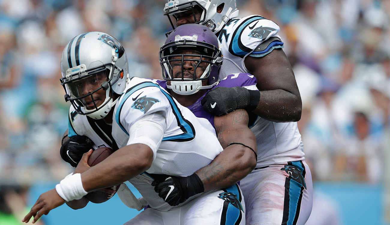 Everson Griffen and the Vikings defense made life miserable for Cam Newton on Sunday.