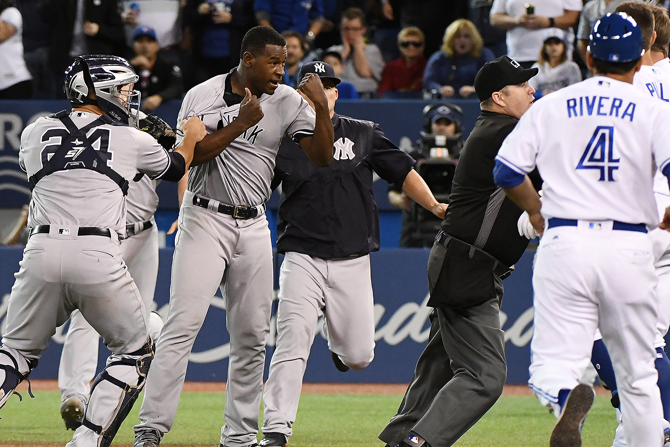 The Yankees and Blue Jays brawled after a series of hit-by-pitches. The scuffle came directly after New York's Luis Severino plunked Justin Smoak.