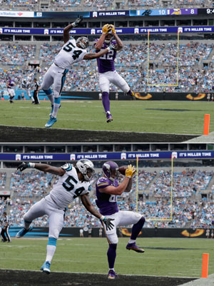 Kyle Rudolph scores the go-ahead TD against the Panthers last Sunday.