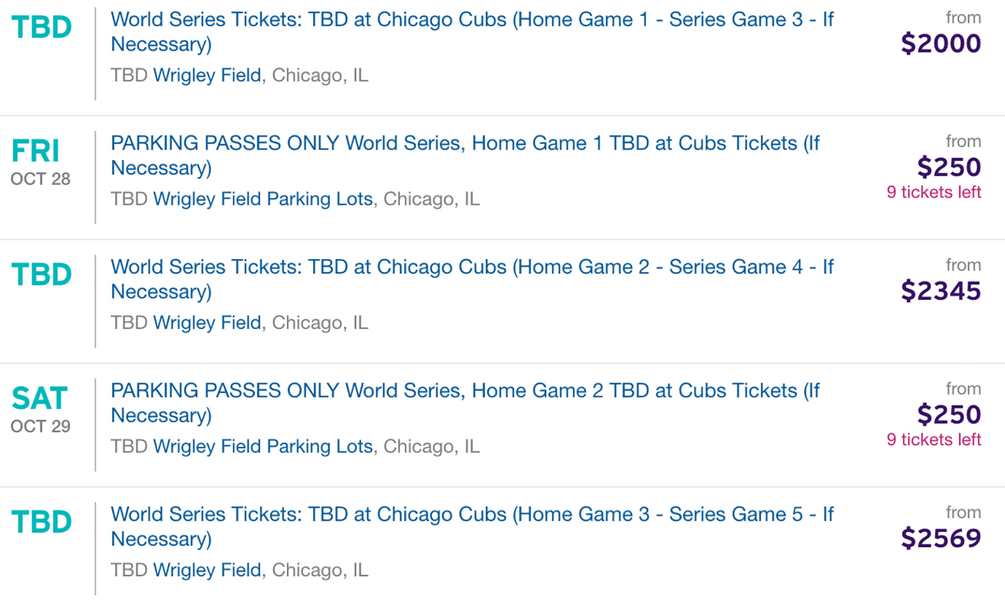chicago cubs world series tickets