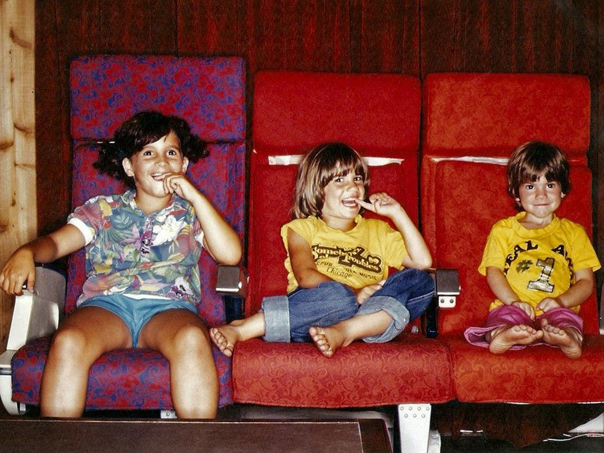 "Jessie, Sarah and Rosanna at a recording studio; Sara's shirt shows the album art for their father's album, ""Somebody Else's Troubles."""