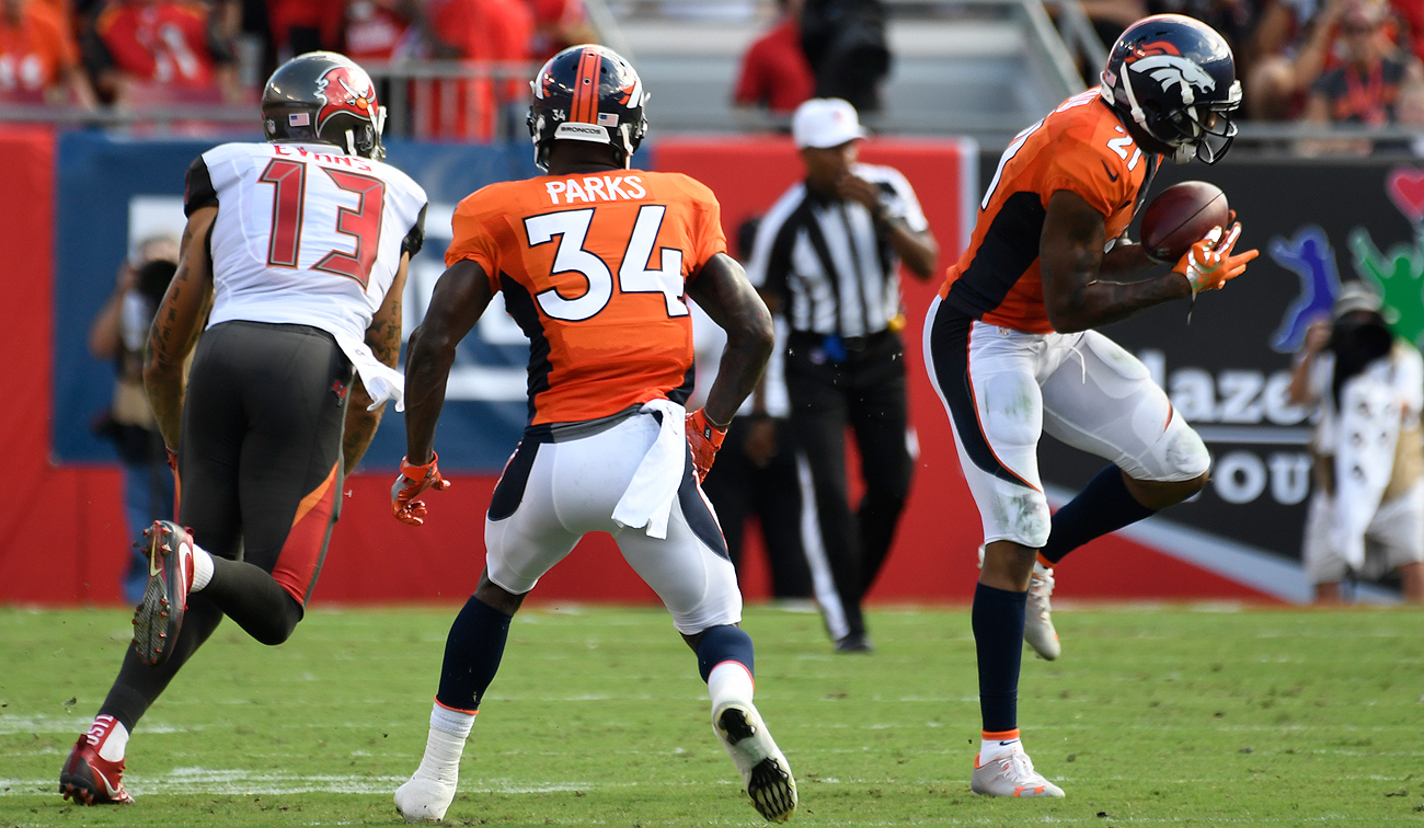 Broncos corner Aqib Talib (21) had a memorable game in his return to Tampa Bay.