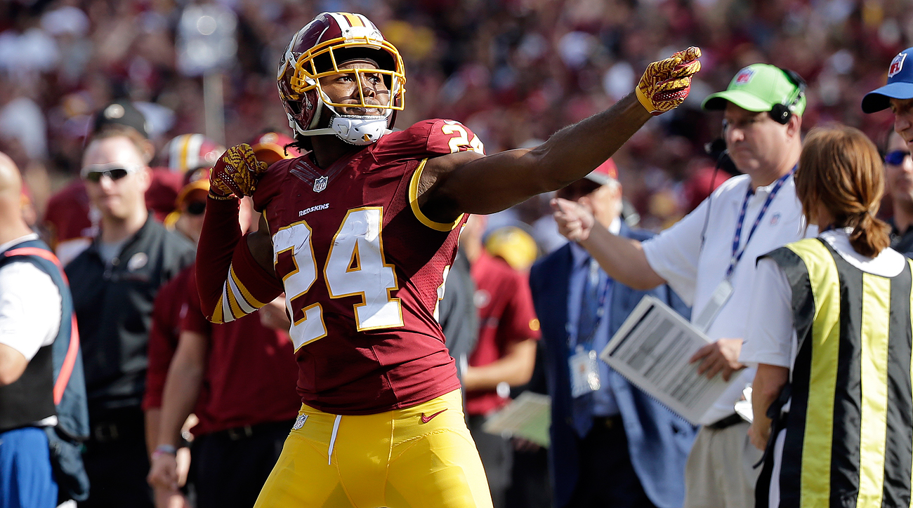 Josh Norman was flagged for this celebration after an interception against the Browns.