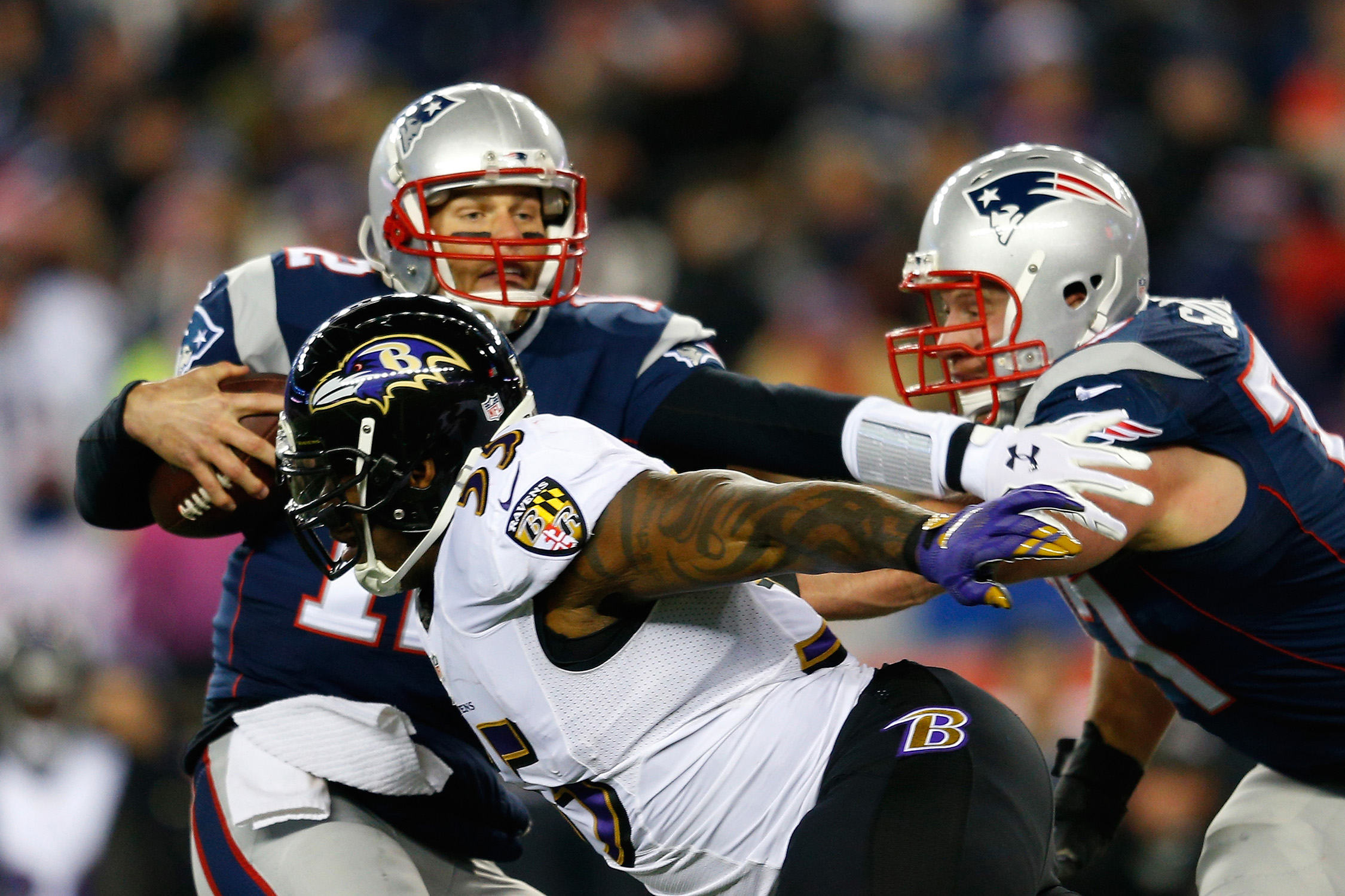 "Ravens fans dislike Tom Brady, but no one hates the Patriots more than linebacker Terrell Suggs, who called the Pats ""the most arrogant pricks in the world.""  He has also said he doesn't like Brady's ""smug attitude"" or his hair."
